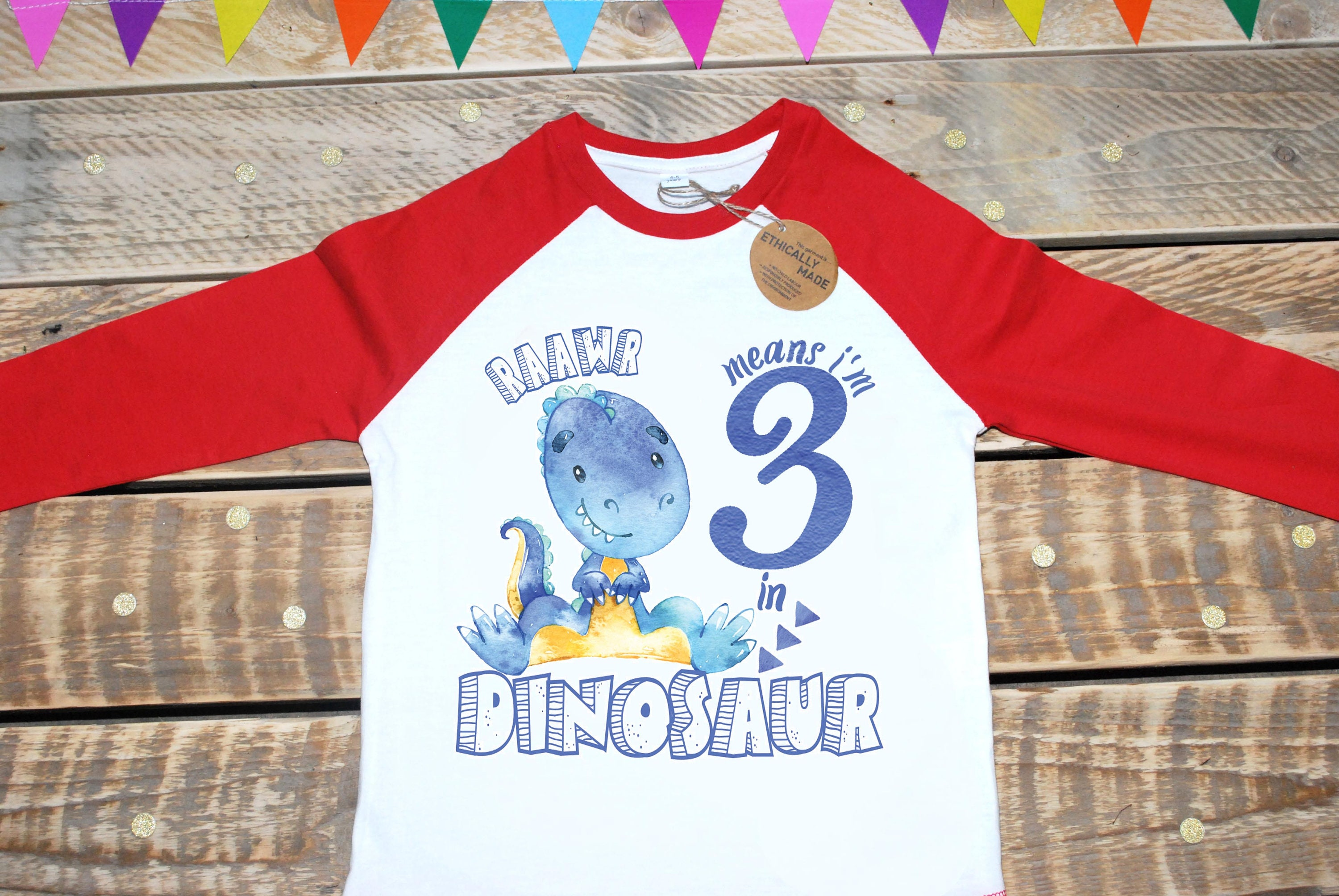 Raawr Means Im 3 In Dinosaur Birthday Shirt Three Year