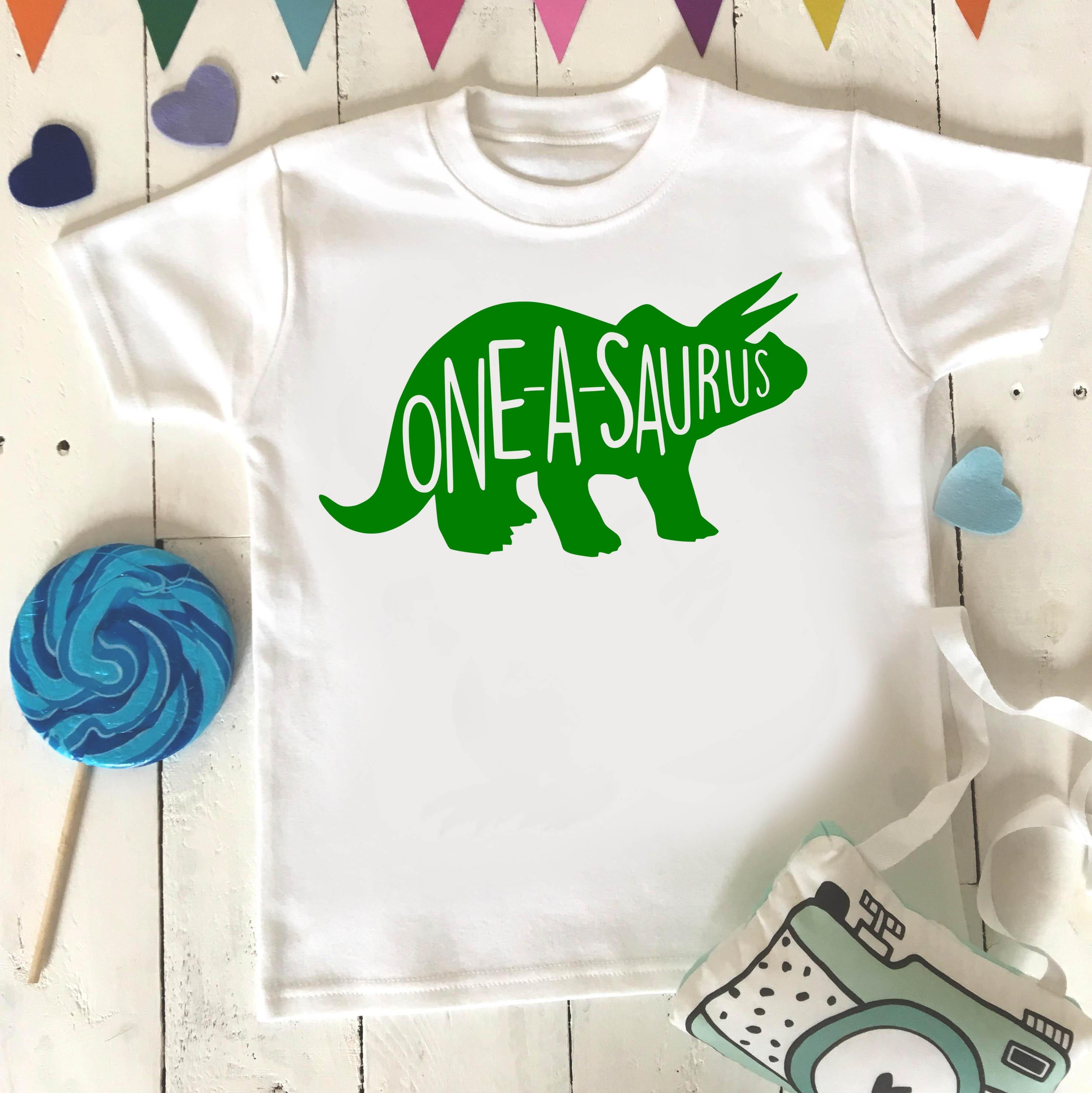Oneasaurus Birthday Shirt One Year Old Dino 1