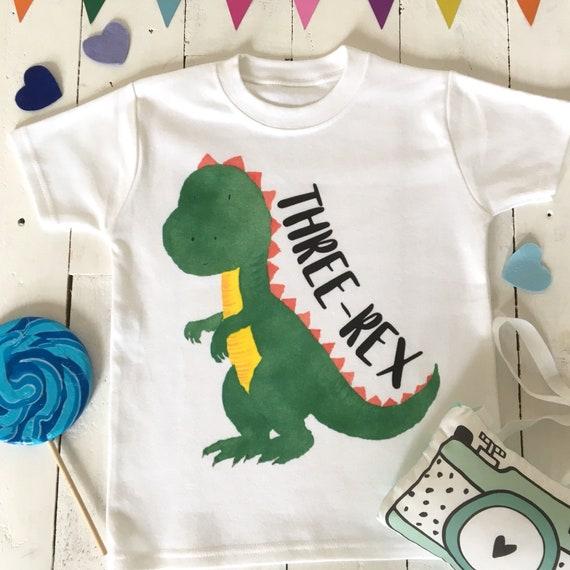 Three Rex Birthday Shirt Year Old Dino