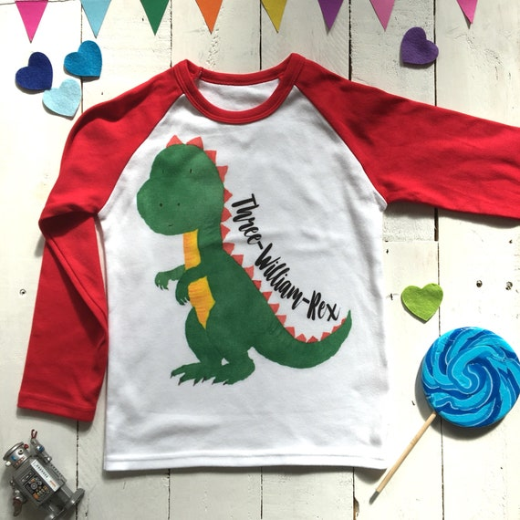 Three Rex Personalized Birthday Shirt Year Old Dino