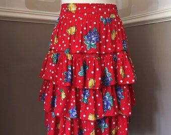 62ccdac0b9 Vintage 80's RaRa skirt, retro ruffled frills, 1980's red floral polka dot,  elastic waist, 3 tiered rah-rah above the knee