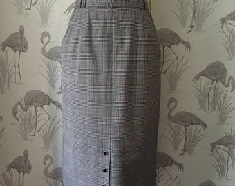 Vintage 80s checked Pencil Skirt, Retro high waisted Wiggle Skirt, Psychobilly, Rockabilly, Punk, Pin Up, pockets