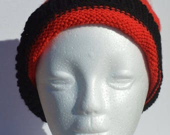 Red beanie: adult size, handknitted acrylic