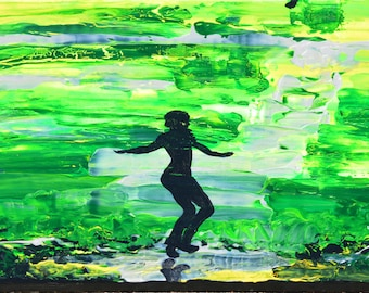 Dancing on the green acrylic painting