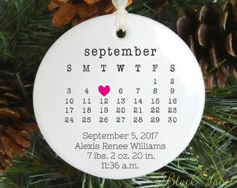 Baby Christmas Ornament - boy or girl - birth announcement - first Christmas gift - baby gift - pregnancy announcement babys first christmas