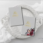Wedding Vow Books, His and Hers Vow Books Gold foil press, Vow Booklet, Color Choices Available, Calligraphy Vow Books, Set of 2 Books
