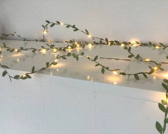 Green leaves fairy lights 2-10m, String lights, Spring decorations, battery, usb, Christmas decorations, wedding decorations