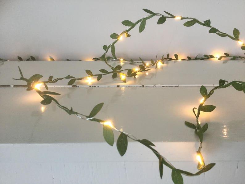 Green leaves fairy lights 2-10m String lights Green garland image 0