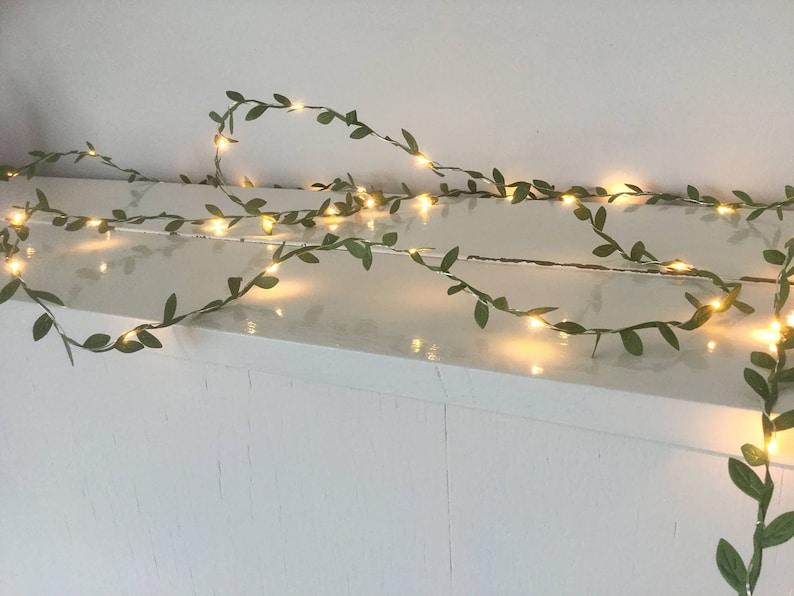 Green leaves fairy lights 2-10m String lights Spring image 0