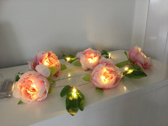Pink Peonies And Leaves Fairy Led Lights Fairy String Lights Etsy