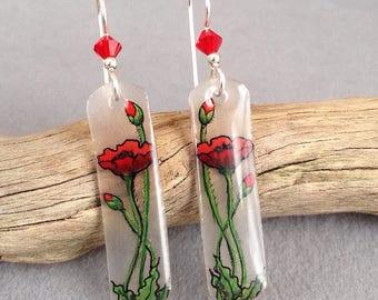 Red poppy earrings - Handdrawn red poppies on earrings , sterling wires , Swarovski crystals . Red flower dangle earrings
