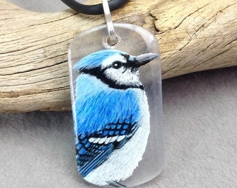 Hand drawn Blue jay necklace with sterling bail . Blue jay in profile pendant . Blue bird necklace .