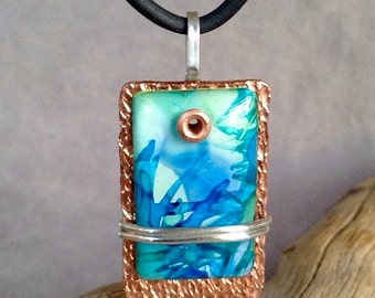 Blue alcohol ink painting on hammered copper pendant with sterling silver accents . Alcohol ink pendant . OOAK pendant