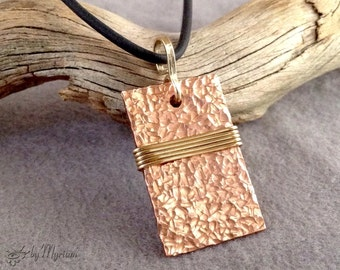 Hammered copper rectangle pendant with 14 kt. gold filled wirewrap … two-tone pendant in copper and gold