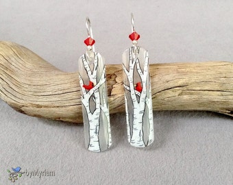 White birch trees and cardinals earrings, hand drawn, sterling silver, Austrian crystal  -  red cardinal on a birch tree branch dangles
