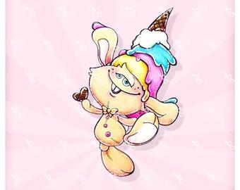 "digi stamp ""rabbit with ice cream hat"""