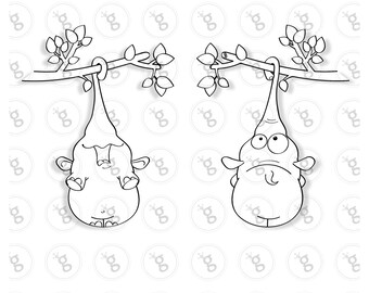 "digi stamp set ""elephant on branch"" - front & back"