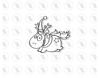 """Digi stamp """"flying unicorn with scarf"""" v2"""