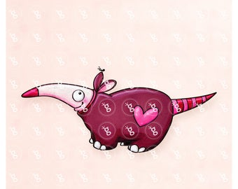 "Digi Stamp ""Anteater with Heart"""