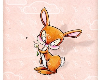 "Digi Stamp ""Bunny with Blowball"""