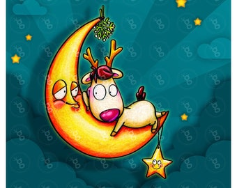 "digi stamp set ""reindeer on the moon"""