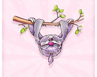 "Digi stamp ""relaxing sloth"""