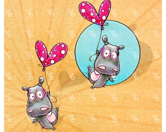 "digi stamp set ""flying hippo"" v5"