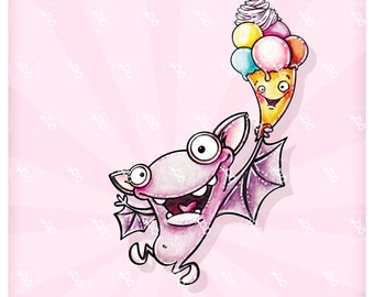 """digi stamp """"bat with ice cream"""""""