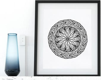 Coloring Page Zentangle Doodle Floral Mandala Printable Adult Coloring Pages Anti Stress Art Therapy Instant Download Zen Printable Wall Art