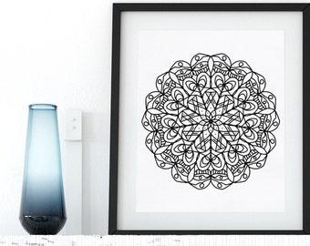Doodle Mandala Coloring Page Printable Adult Coloring Book AntiStress Coloring Art Therapy Instant Download Zen Coloring Mandala Digital Art