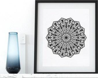 Instant Download Mandala Coloring Page Printable Adult Coloring Pages AntiStress Coloring Art Therapy Zen Coloring Mandala Digital Wall Art