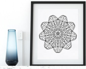 Printable Coloring Page Floral Mandala Doodle Zentangle Adult Coloring Page Anti Stress Art Therapy Art Instant Download Zen Printable Art