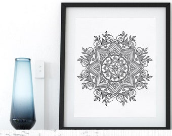Mandala Printable Coloring Page Floral Pattern Adult Coloring Book Adult Anti Stress Art Therapy Instant Download Zen Digital Printable Art