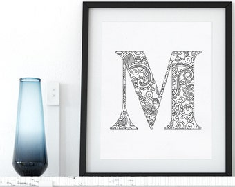 Printable Coloring Page Alphabet Floral Letter M Instant Download Coloring Pages Digital Wall Art Printable Adult Coloring Art Therapy Zen