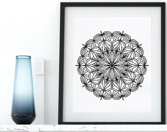 Mandala Coloring Page Adult Coloring Book Printable Art Mandala AntiStress Coloring Art Therapy Instant Download Zentangle Coloring Pages