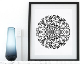 Printable Coloring Page Mandala Floral Zentangle Adult Coloring Page Anti Stress Art Therapy Art Instant Download Zen Digital Printable Art