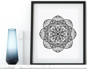 Instant Download Printable Coloring Page Floral Mandala Doodle Zentangle Adult Coloring Page Anti Stress Art Therapy Art Zen Printable Art