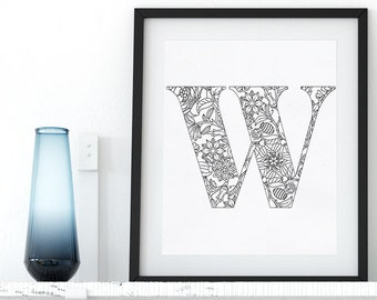 Printable Coloring Page Letter Floral Alphabet W Instant Download Coloring Pages Digital Wall Art Printable Adult Coloring Art Therapy Zen
