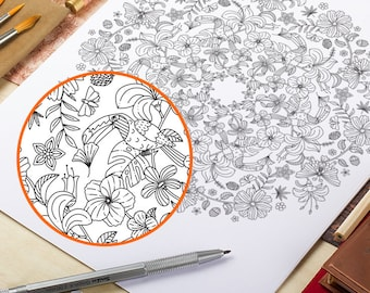 Floral Coloring Page Printable Floral Mandala Coloring Pages Adult Coloring Book AntiStress Art Therapy Instant Download Printable Wall Art