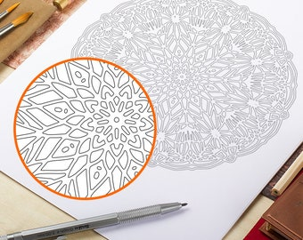 Instant Download Printable Coloring Page Mandala Adult Coloring Pages Doodle Wall Art Coloring Art Therapy Coloring Mandala Papercut Art Zen
