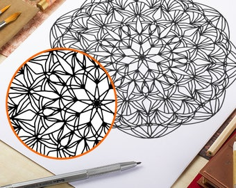 Printable Coloring Page Floral Mandala Adult Coloring Page Zentangle Doodle Anti Stress Art Therapy Instant Download Coloring Page Wall Art