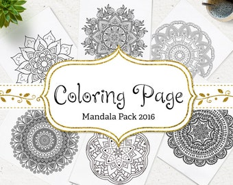 SALE Instant Download Coloring Page Floral Mandala Coloring Printable Adult Coloring Book AntiStress Coloring Pages DIY Printable Wall Art