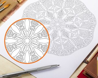 Printable Mandala Coloring Page Adult Coloring Pages Doodle Wall Art Coloring Art Therapy Instant Download Zen Coloring Mandala Papercutting