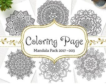 SALE Mandala Coloring Page Printable Floral Mandala Adult Coloring Book AntiStress Coloring Art Therapy Instant Download Digital Coloring
