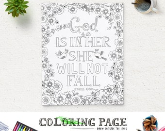 Coloring Page God Is In Her Printable Bible Verse Psalm 465 Instant Download Quote Adult Pages Anti Stress Art Therapy
