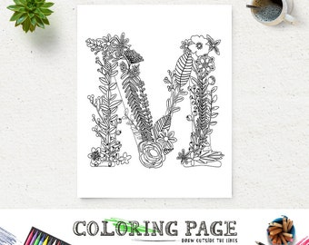 Sale Floral Alphabet Printable Coloring Page Letter P Instant Etsy