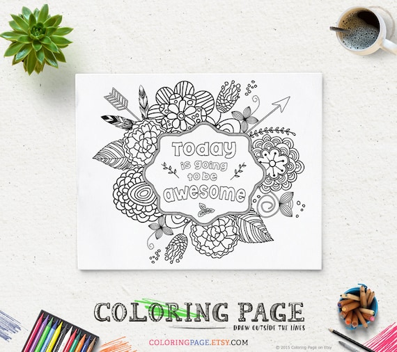 Coloring Page Printable Verse Today Is Going To Be Awesome Etsy