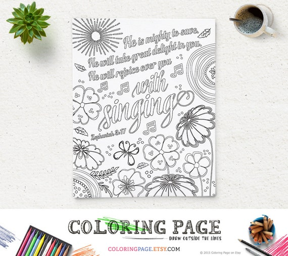 Coloring Page Printable Bible Verse He Is Mighty Zephaniah Etsy