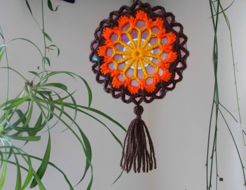 Crochet Mandala Suncatcher Double Sided Sun Catcher Mobile Etsy