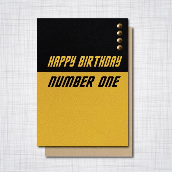 Star Trek Geek Birthday Card Happy Birthday Number One Geeky Etsy